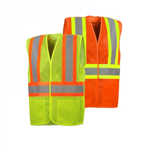 5 Point Tear Away Traffic Safety Vest with 2 Pockets
