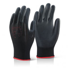 Black Poly Urethane Gloves- 12PR/BX