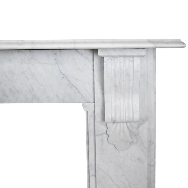Victorian Style Carrara Marble Fireplace Surround with Corbels
