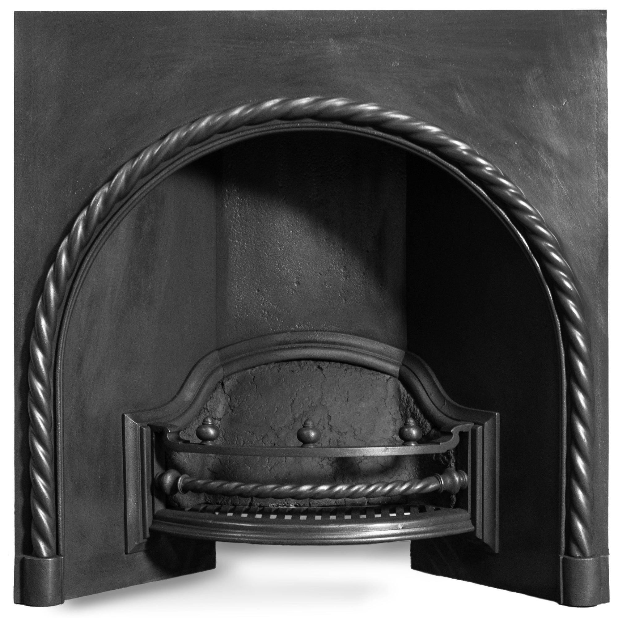 Antique Cast Iron Arched Fireplace Insert with Rope Detail