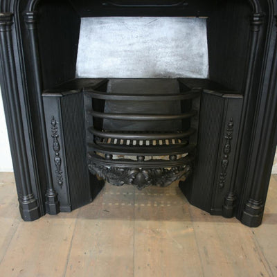 Antique Gothic Revival Cast Iron Fireplace Insert