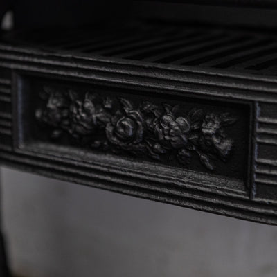 Antique Victorian Cast Iron Hob Grate with Floral Details