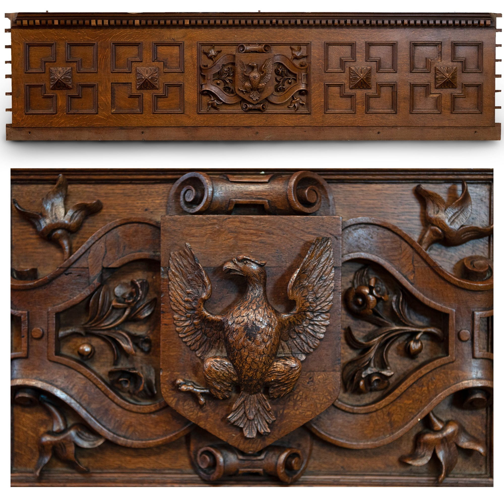 Antique Carved Wooden Element with Eagle | The Architectural Forum