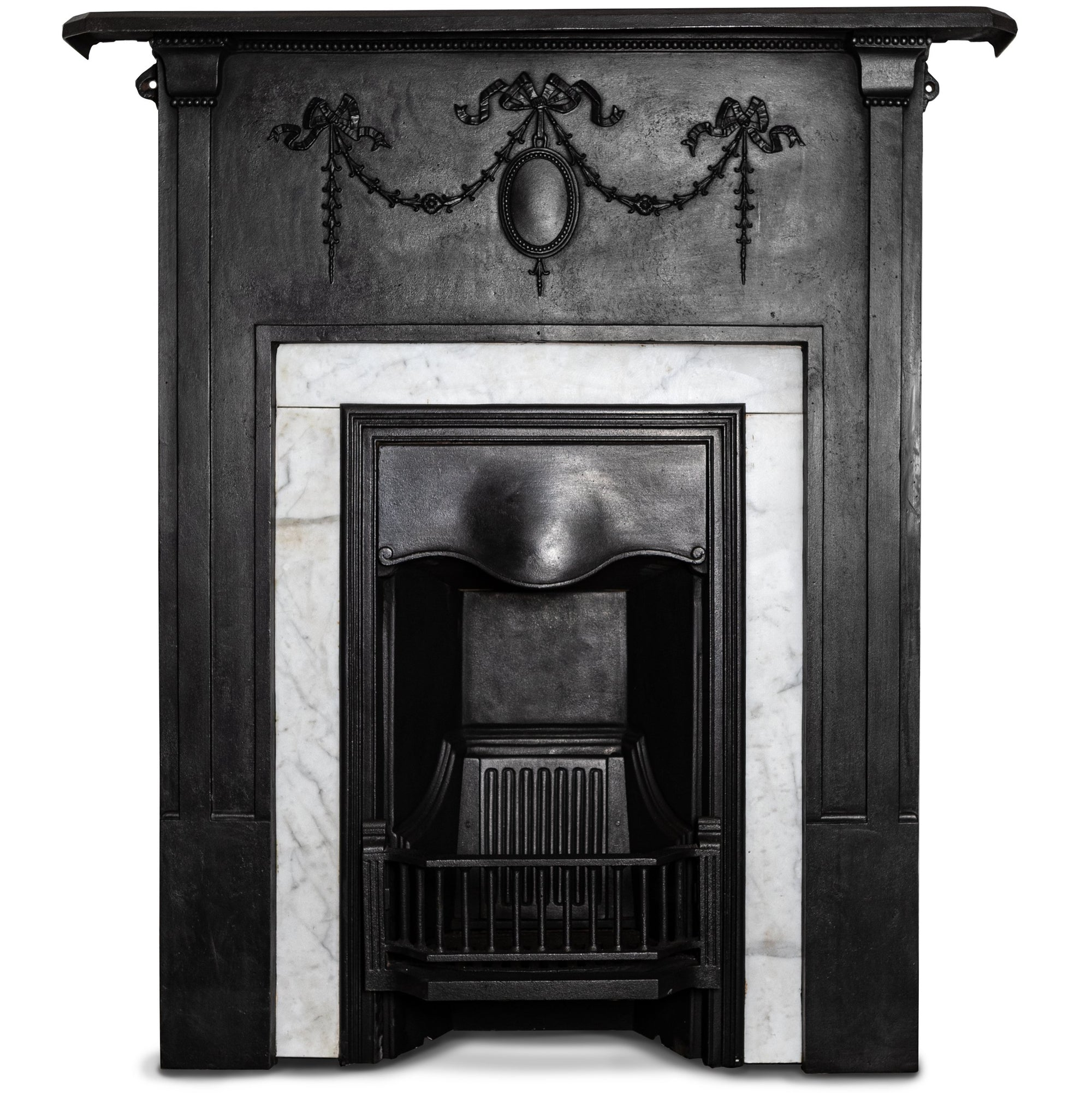 Antique Cast Iron Combination Fireplace With Carrara Marble