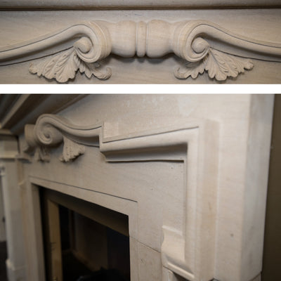 Reclaimed Baroque Style Limestone Fireplace Surround