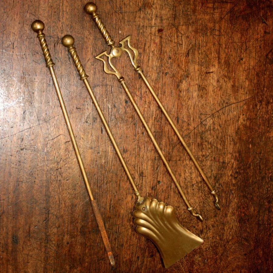Antique Brass Fireplace Companion Set