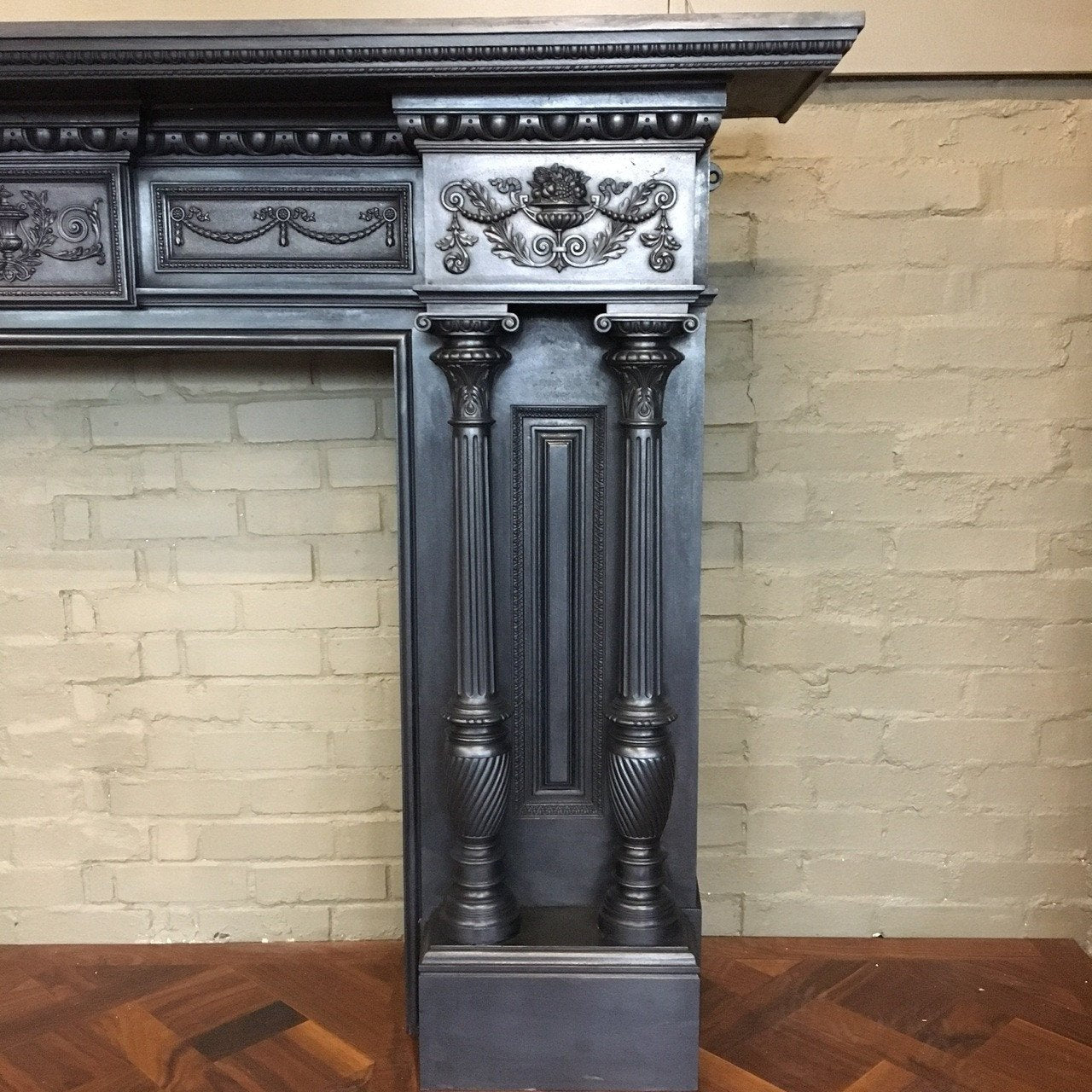 Antique Grand Cast Iron Fireplace Surround