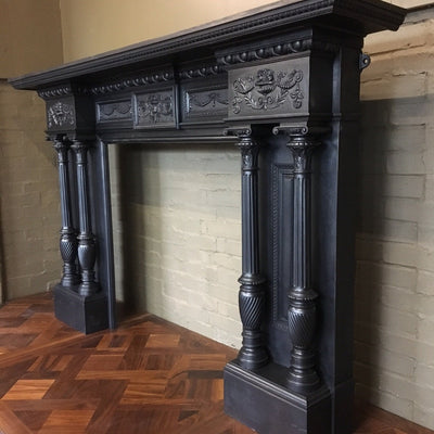 Antique Grand Cast Iron Fireplace Surround - The Architectural Forum