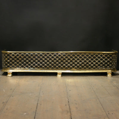Antique Victorian Brass Fireplace Fender