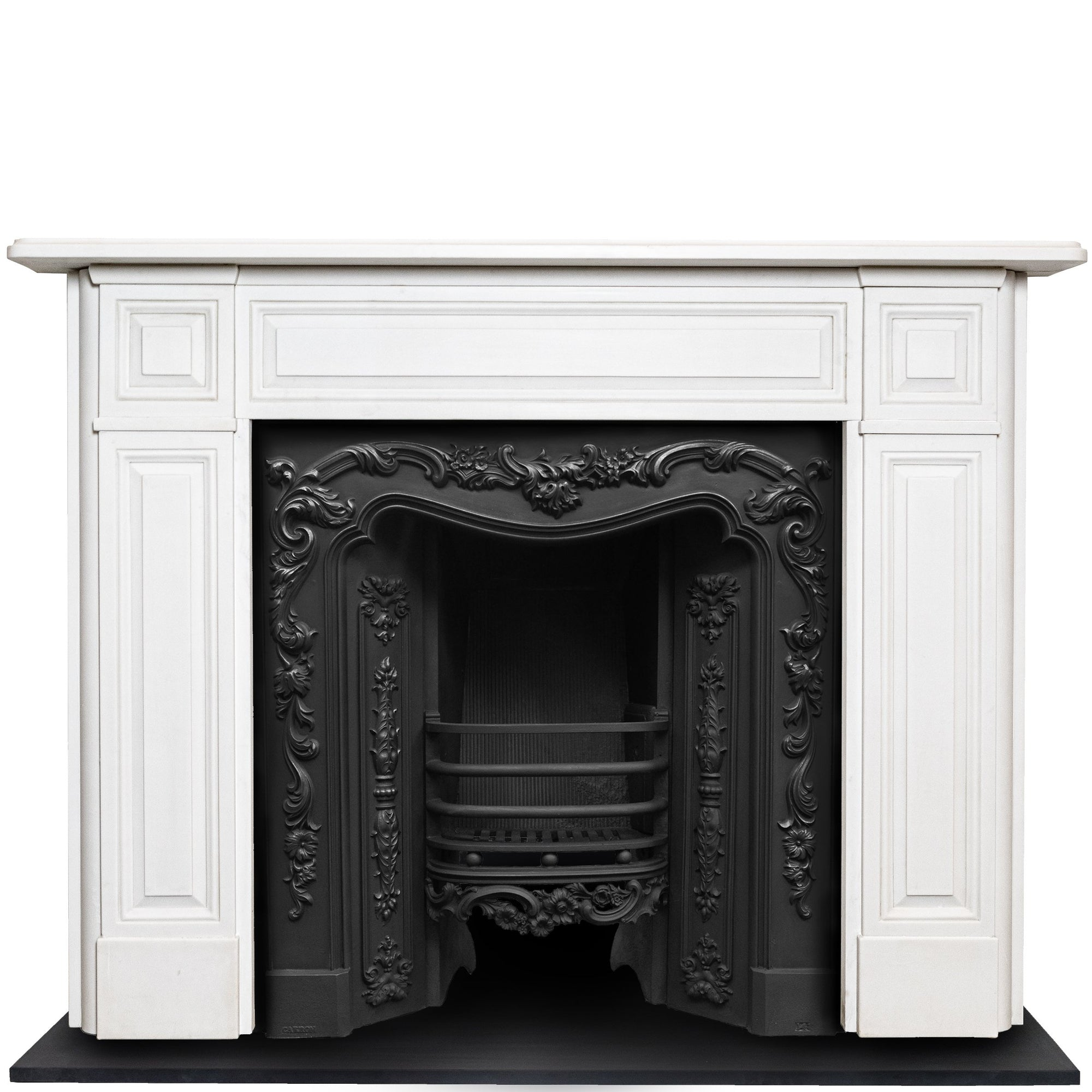 Reclaimed Victorian Style Statutory White Marble Chimneypiece