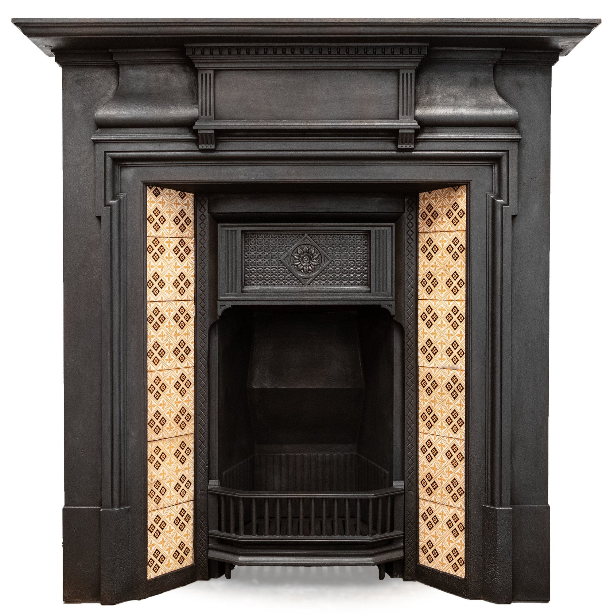 Antique Tiled Cast Iron Combination Fireplace