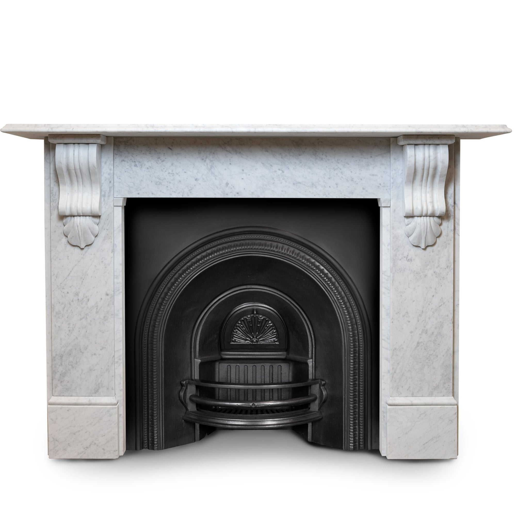 Large Victorian Style Carrara Marble Chimneypiece with Corbels