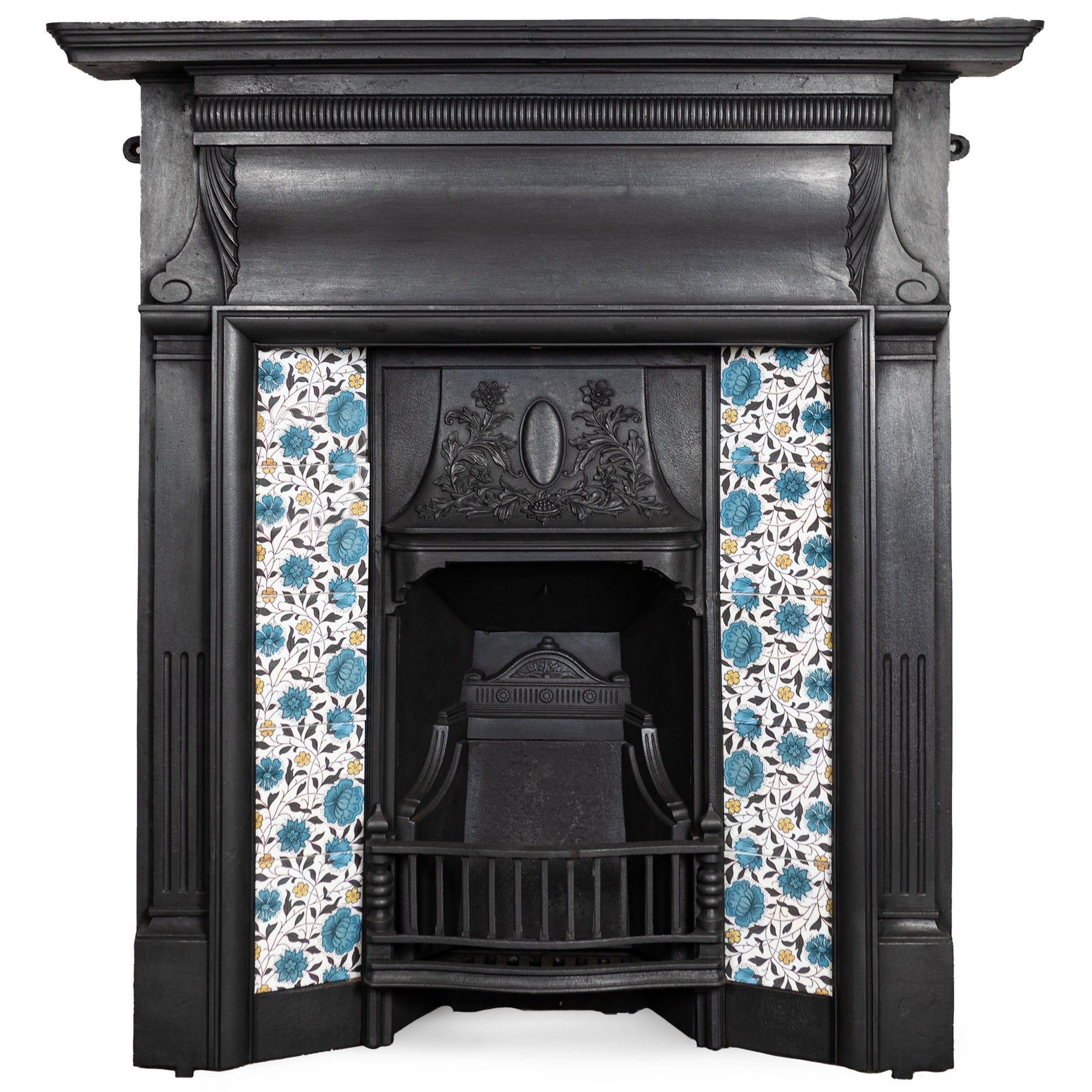 Antique Cast Iron Combination Fireplace with Blue Floral Tiles