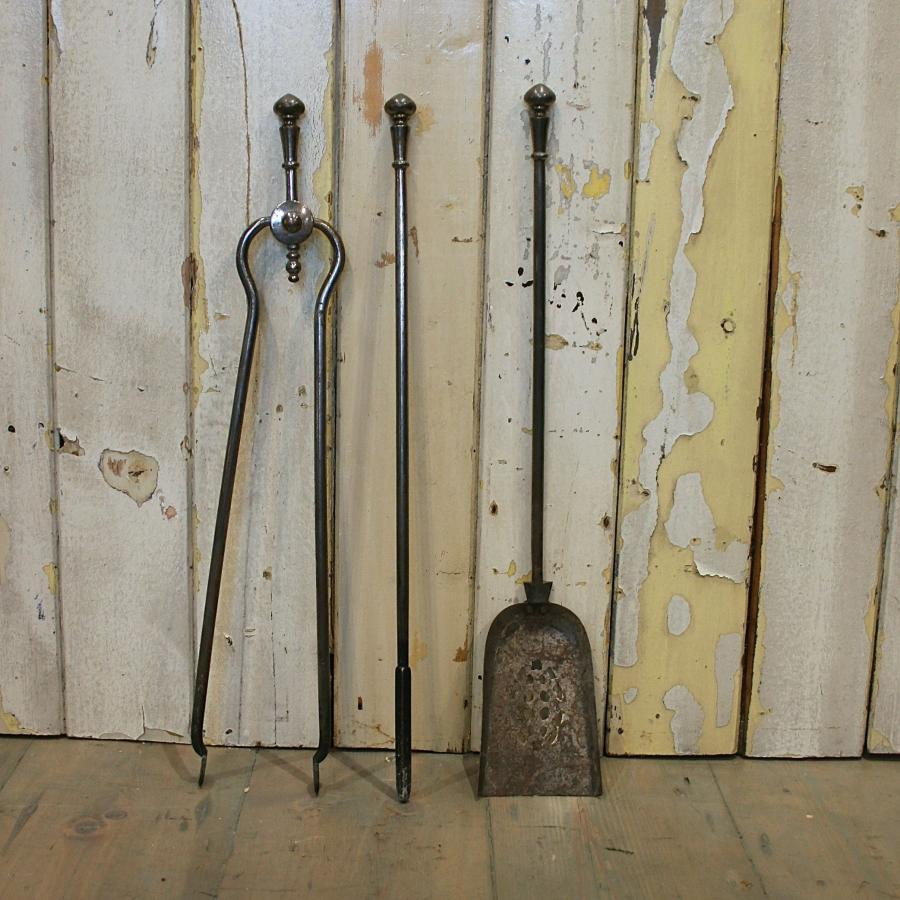 Antique Cast Iron Fire Iron Set