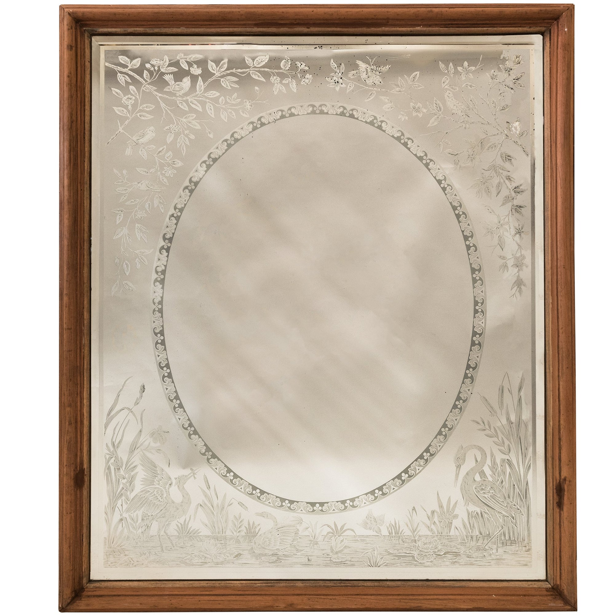 Large Antique Victorian Etched Mirror with Wooden Frame | The Architectural Forum