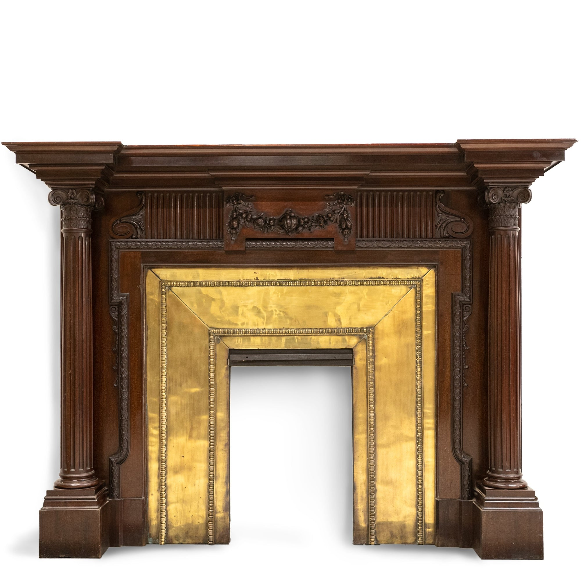 Antique Carved Mahogany Surround with Decorative Brass Insert | The Architectural Forum?id=27970908520519