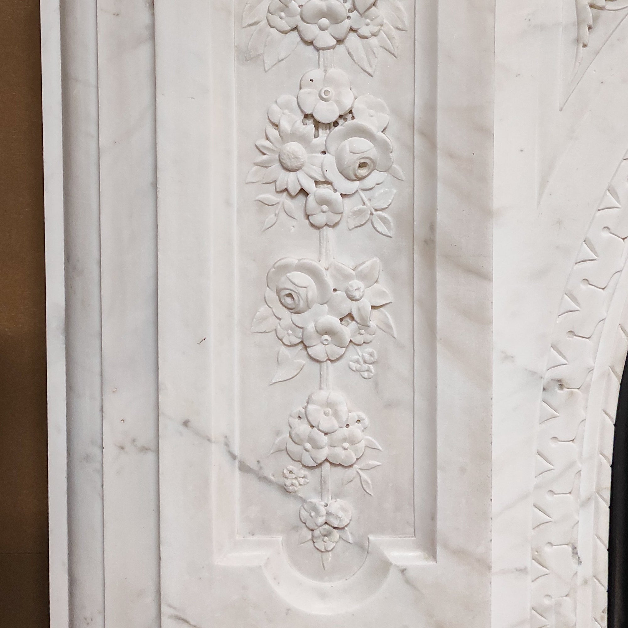 Impressive Victorian Carved Statuary Marble Arched Chimneypiece