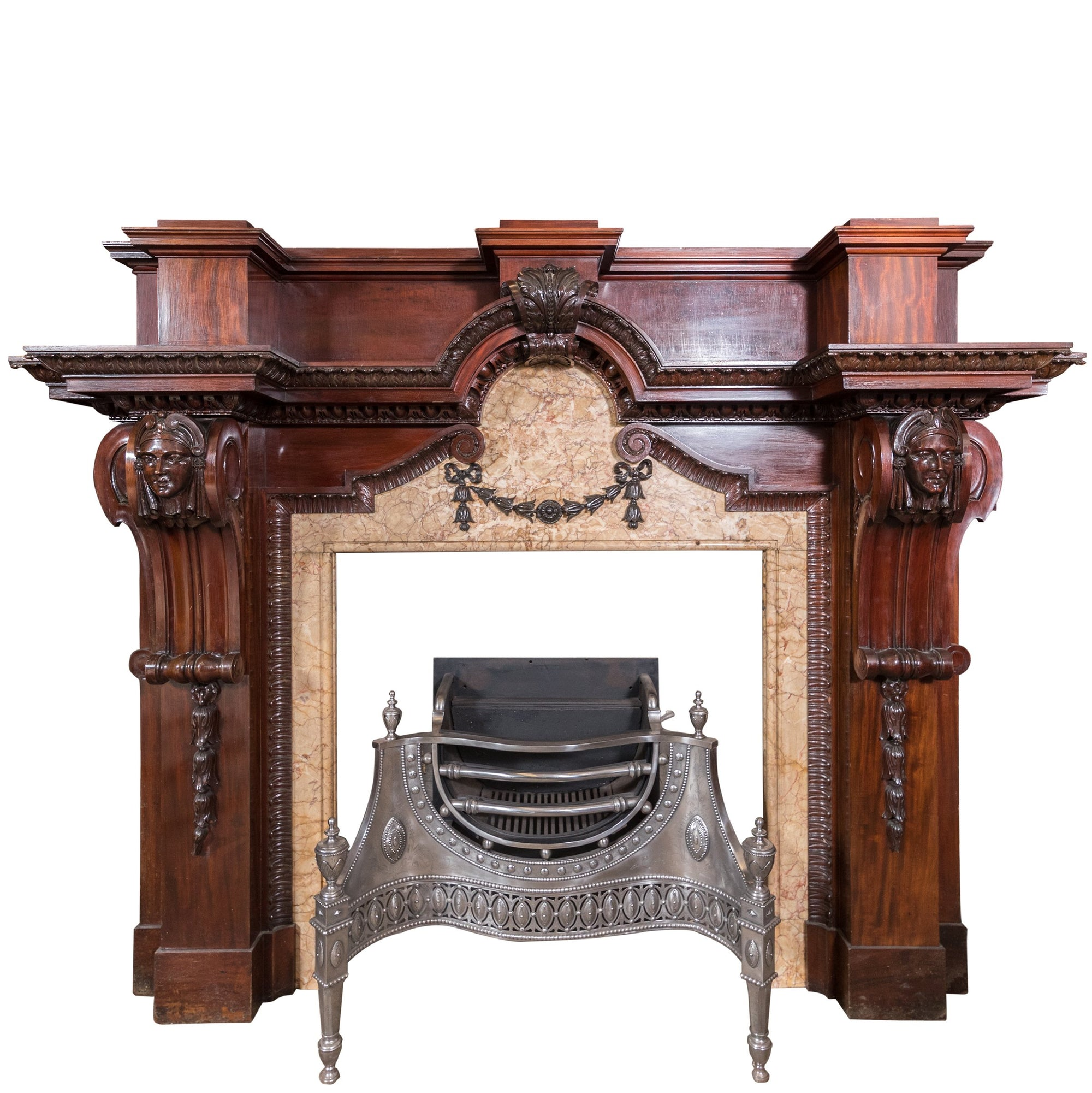 Large Baroque Mahogany & Marble Fireplace Surround