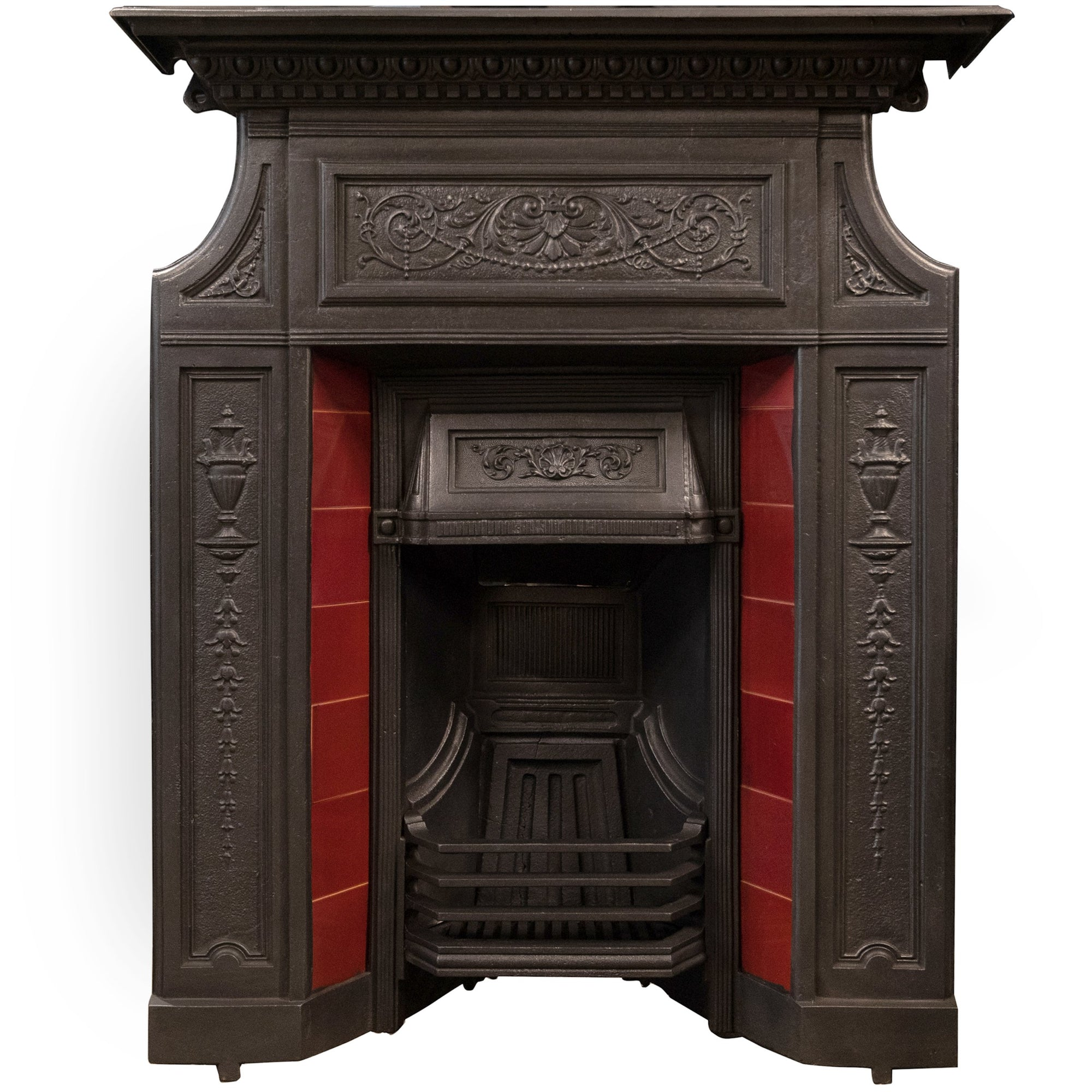 Antique Edwardian Cast Iron Combination Fireplace with Red Tiles