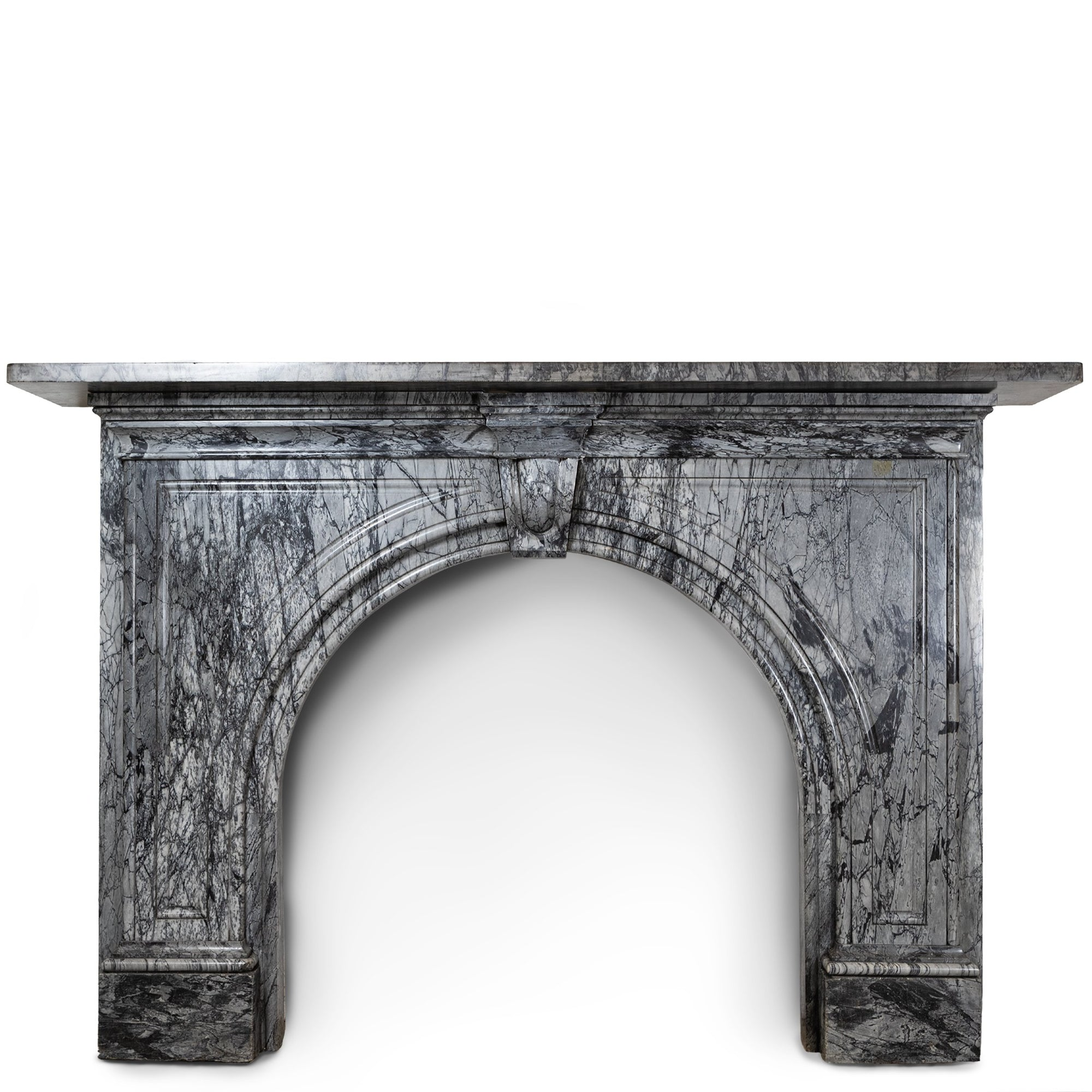 Antique Victorian Grey Bardiglio Marble Arched Chimneypiece