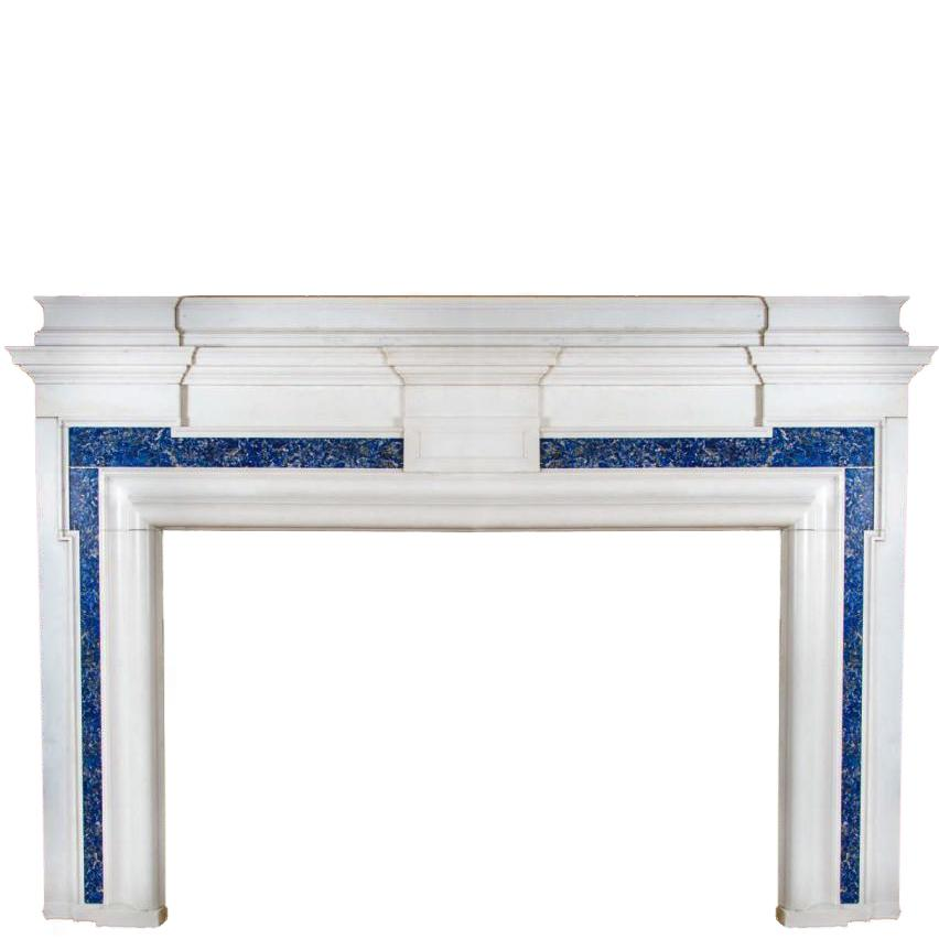 Antique Lapis Lazuli Marble Fireplace Surround