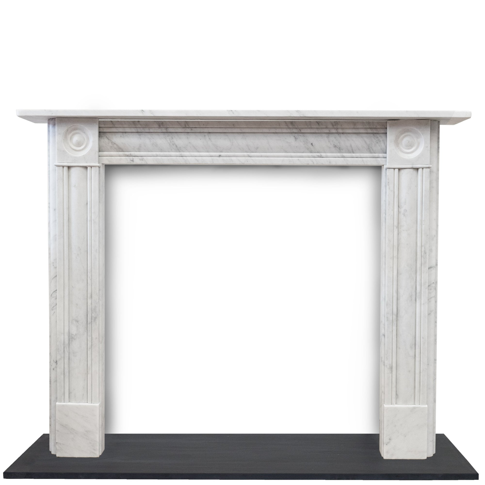 Georgian Style Carrara Marble Bullseye Fireplace Surround