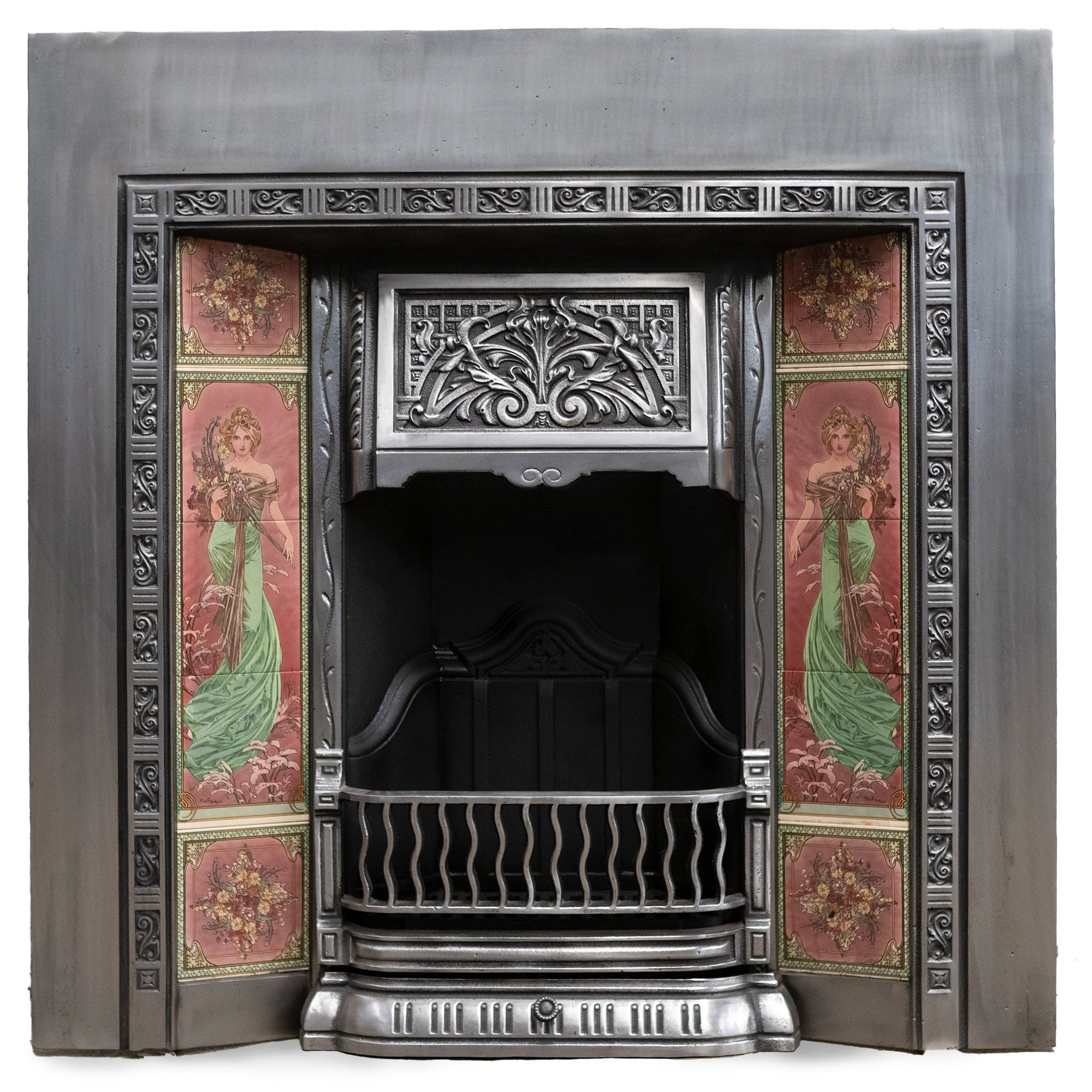 Reclaimed Art Nouveau Polished Fireplace Insert with Tiles