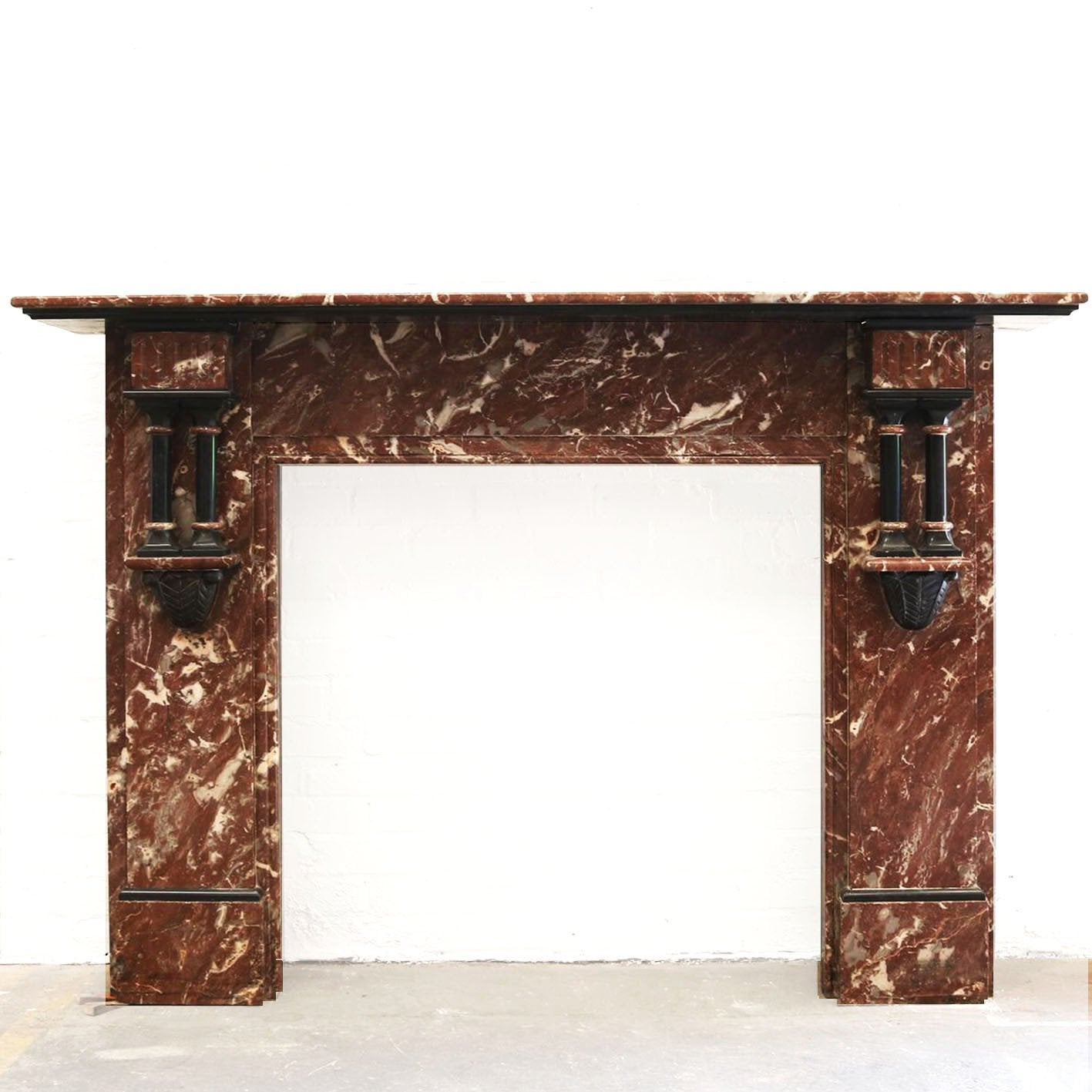 Antique Rouge Royale Marble Fireplace Surround