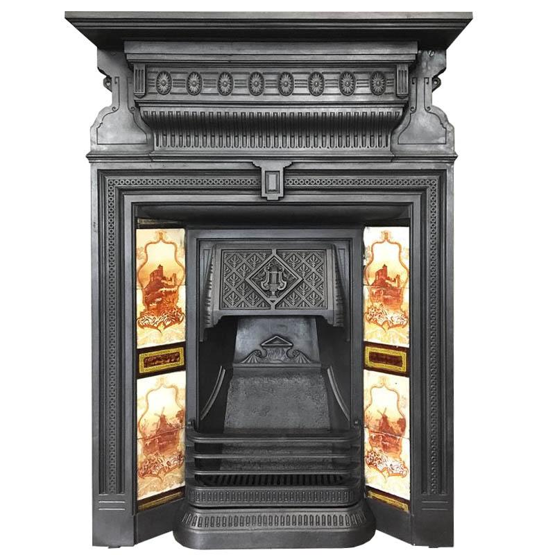 Antique Victorian Tiled Combination Fireplace