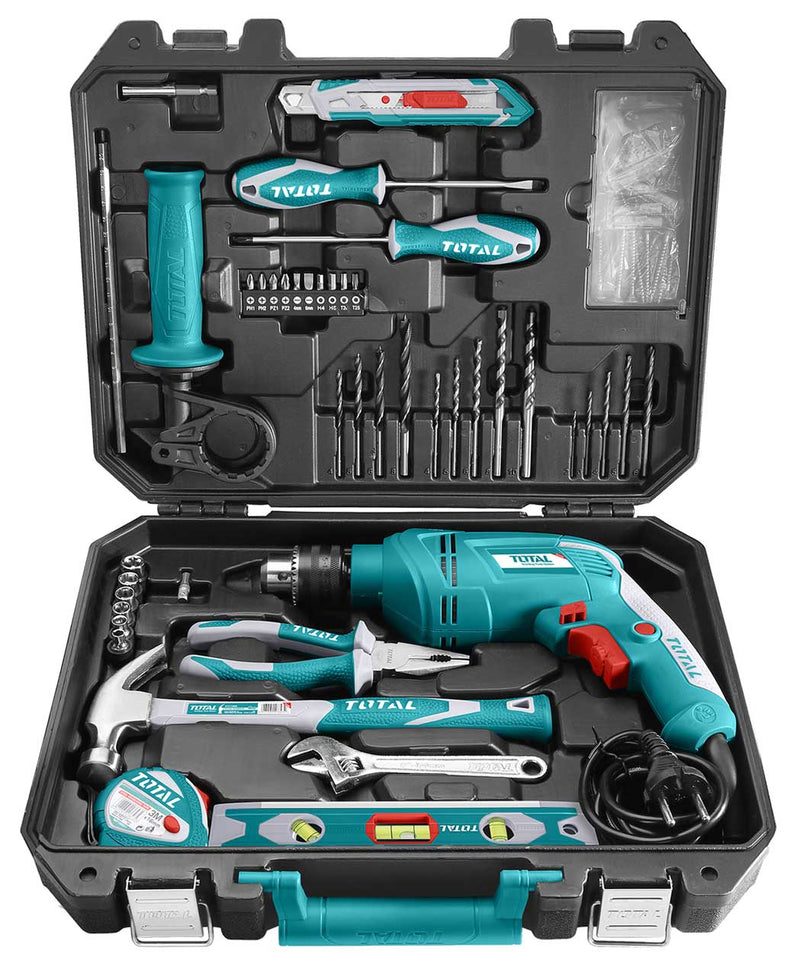 Total 111 Pieces Tool Set with 550W Impact Drill - THKTHP1112 | Supply Master | Accra, Ghana Tools Building Steel Engineering Hardware tool