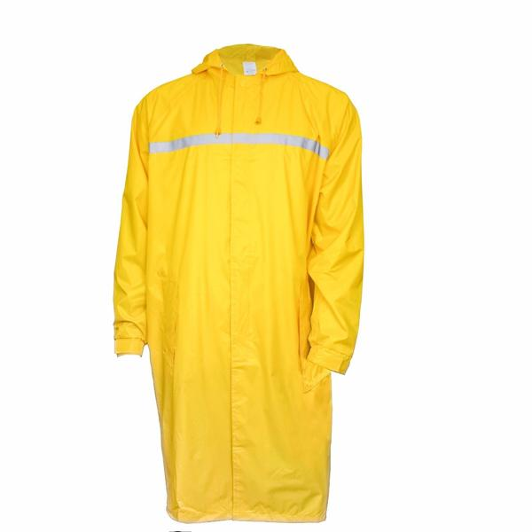 Waterproof Nylon Long Raincoat with Reflector - Yellow