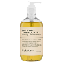 Load image into Gallery viewer, Mandarin + Cedarwood Oil Revitalising Castile Hand Wash Clear 500ml