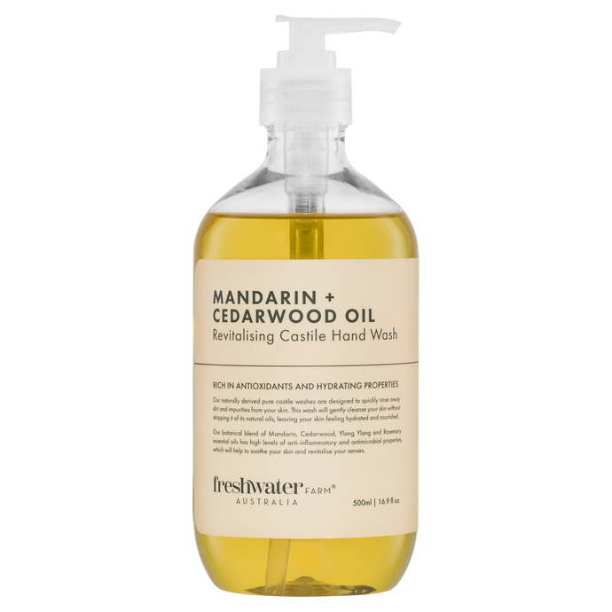 Mandarin + Cedarwood Oil Revitalising Castile Hand Wash 500ml