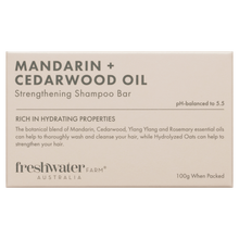Load image into Gallery viewer, Mandarin + Cedarwood Oil Strengthening Shampoo Bar 100g