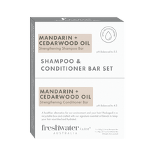 Load image into Gallery viewer, NEW - Mandarin + Cedarwood Oil Strengthening Shampoo and Conditioner Bar Set