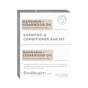 NEW - Mandarin + Cedarwood Oil Strengthening Shampoo and Conditioner Bar Set