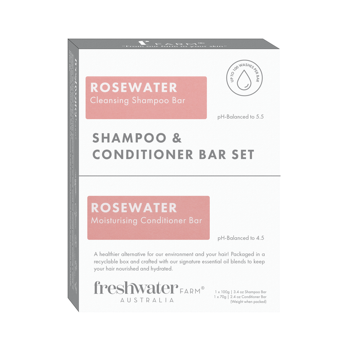 NEW - Rosewater Cleansing Shampoo and Conditioner Bar Set