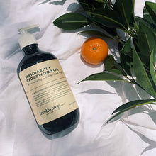 Load image into Gallery viewer, Mandarin + Cedarwood Oil Revitalising Castile Hand Wash Amber 500ml