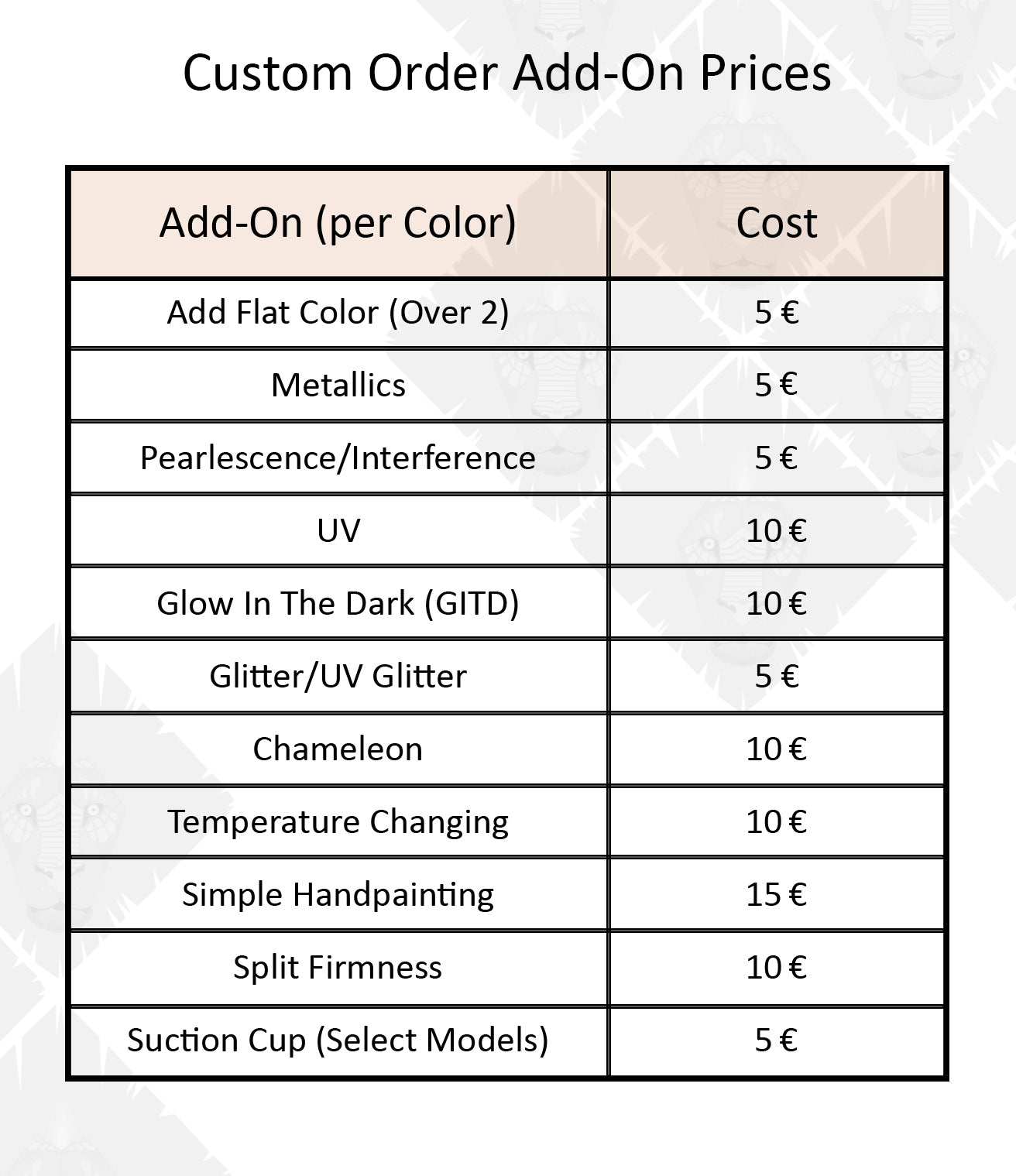 color add on prices