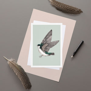 Green Tree Swallow - Greeting Card