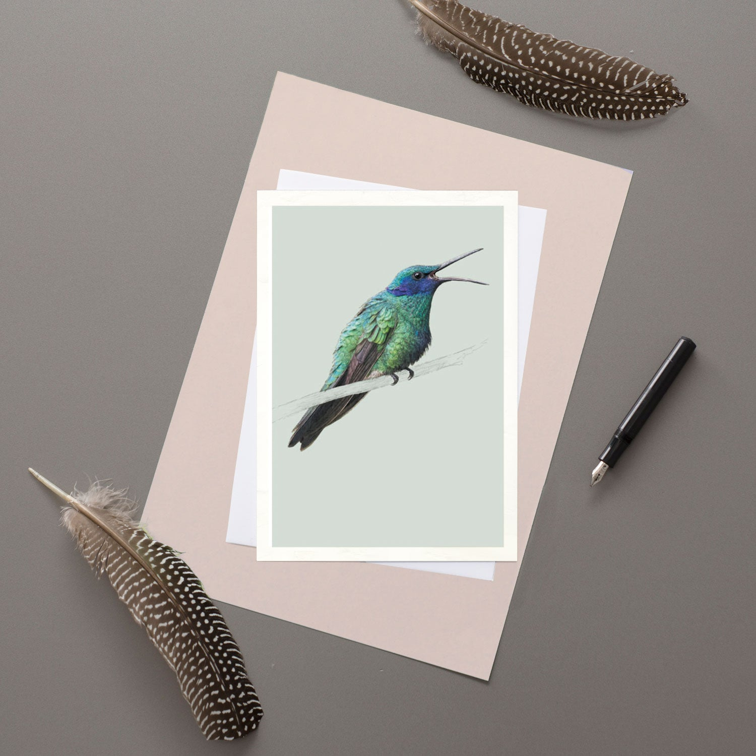 Sparkling Violetear Hummingbird - Greeting card
