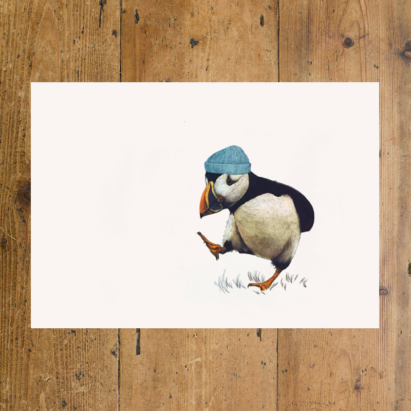 Puffin with blue hat A3