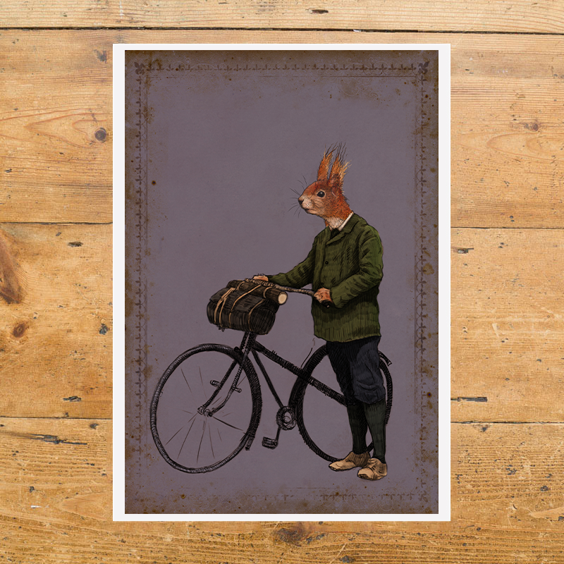 Squirrel Cyclist Purple
