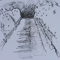 fineliner pen sketch of high woods lane by artist mandy covington