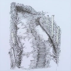 high woods lane pen sketch by artist mandy covington