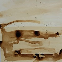 abstract brush marks and blots on paper made with French Sepia ink by artist mandy covington