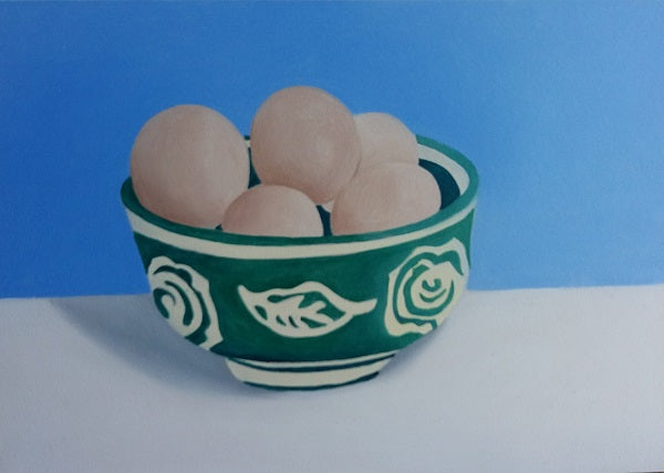 "Green bowl with eggs (7"" x 5"")"