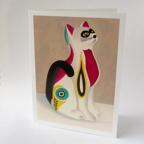 Vintage ceramic cat greeting card