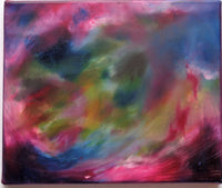 Abstract oil painting swirls of pinks and blues