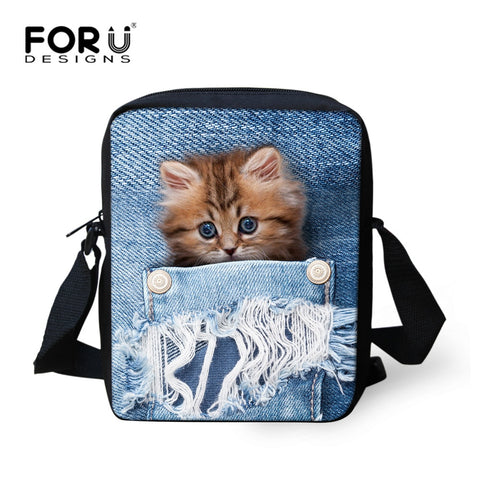 Girls Fashion Handbag with Cat print